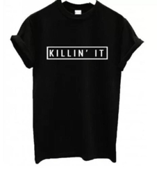 Killing IT zwarte dames t-shirt shirt topje tops shirtje