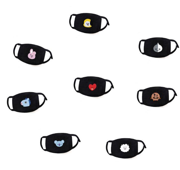 BT21 BTS Herbruikbare wasbare zwarte katoenen dieren opdruk print mondkap mondkapje mondmasker masker mondmaskers mondkapjes mondkaps mouth mask masks