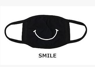 Herbruikbare wasbare zwarte katoenen smiley glimlachen mondkap mondkapje mondmasker masker