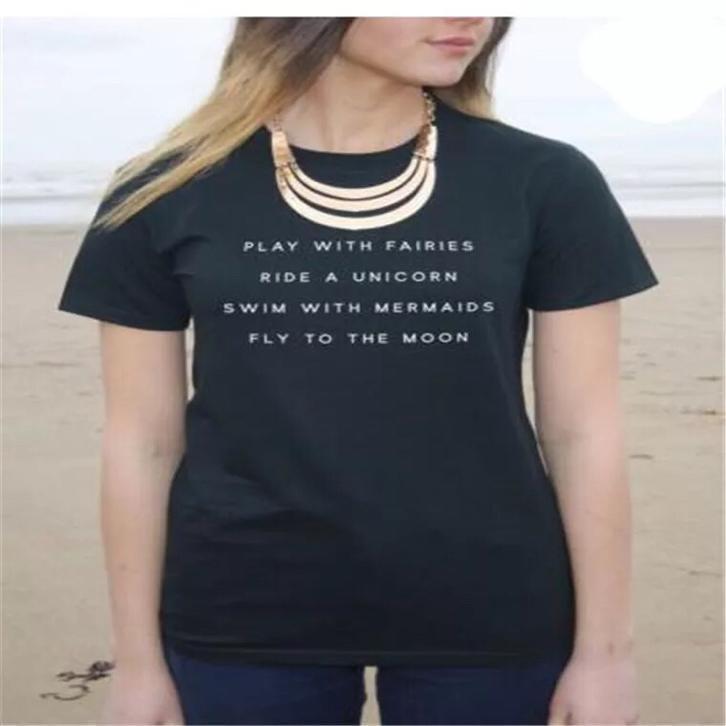 Nieuw Leuke zwarte dames t-shirt shirt topje tops met text tekst MD-01