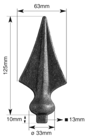 LASBARE SPEERPUNT 125X63MM  voet V 13 mm