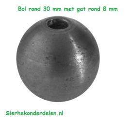 DOORBOORDE BOL  ROND 30 mm met GAT 8MM