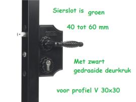 Sierpoort slot Groot LAKQH2 kleur Groen RAL 6009  voor 40-60 mm