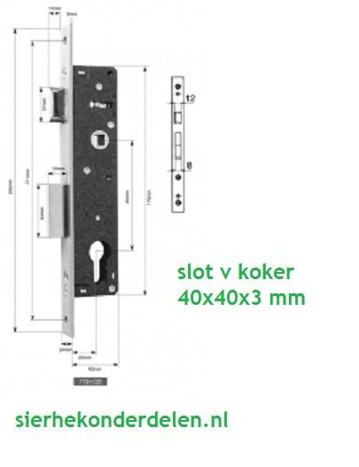 Smal deurslot ( insteek) v koker 40x40