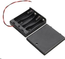 Batterijhouder doos 4xAA met schakelaar