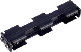 Batterijhouder lang 4xAA met drukknop aansluiting