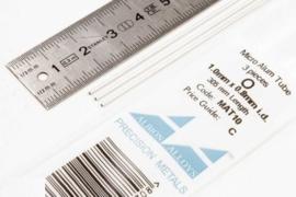 MAT10 Pijp rond  buiten 1mm dikte 0,1mm binnen 0,9mm  lengte 30,5mm  3 stuks
