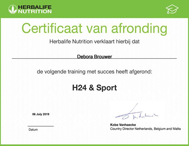 Herbalife 24 en sport certificaat