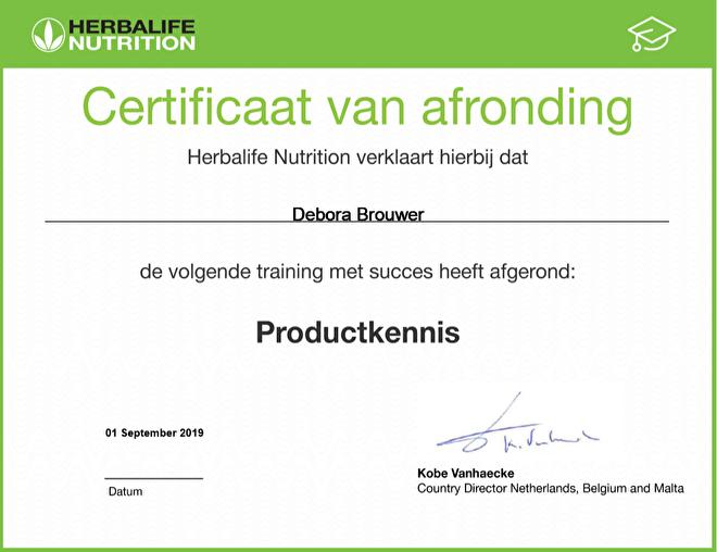 Herbalife certificaat productkennis