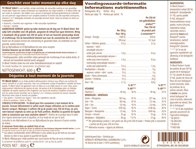 Labelinformatie Herbalife Tri Blend Select Coffee caramel 600 g