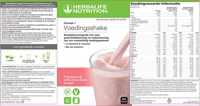 Labelinformatie Herbalife Formula 1 Vrij Van voedingsshake Framboos & witte chocolade 500 g