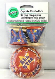 ALL STARS & PICKS COMBO SPORTS PARTY CUPCAKE BAKERY BAKING CUPS 24/24