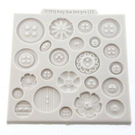 Katy Sue Designs Buttons Design Silicone Impression Mat | Fondant | Cake