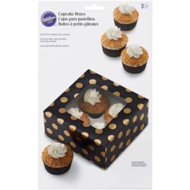 Cupcakedoosje zwart met gouden stippen - 3 stuks