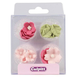Culpitt Suikerdecoratie Bloem & Blad Roze pk/16