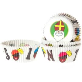 House of Marie Cupcakevormen Sinterklaas, 50 stuks wit