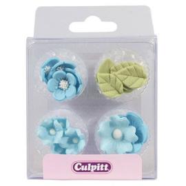 Culpitt Suikerdecoratie Bloem & Blad Blauw pk/16