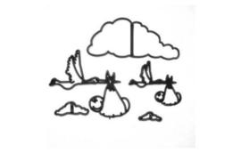 Patchwork Cutter Stork & Baby