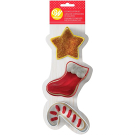 Wilton Cookie Cutter Star-Stocking-Candy Cane Set/3