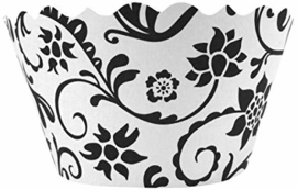 Bella Couture Hannah Floral Cupcake Wrappers, Black/White