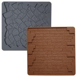 Wilton Silicone Texture Mat -Stone/Wood- Set/2