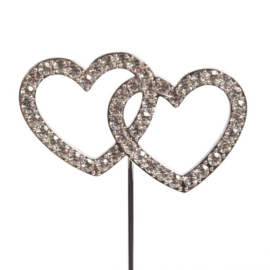 Cake Star Cake Topper Diamante Double Heart