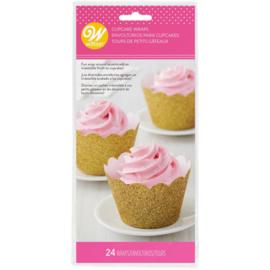 Wilton Cupcake Wrappers Glitter Gold pk/24
