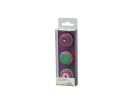 Cupcakepapiertjes mini roos, paars en groen