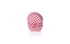 House of Marie bakpapiertjes Ruit Rood Small pk/50