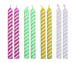 4 Colour Medium Striped Candles