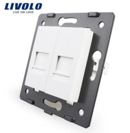 Livolo | Module | Frame | Telephone RJ11 & Telephone RJ11 | White