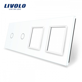 Livolo | White | Glass Panel  | Quintuple | 2 Gang + 2 Frame