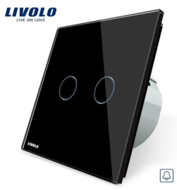 Livolo | Black | 2Gang Doorbell/Pulse | Wall Touch Switch