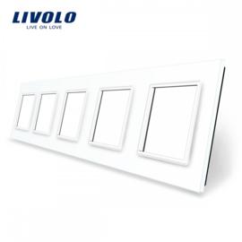 Livolo | Blanc | Panneau De Verre | Quintuple | Cadre