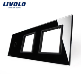 Livolo | Black | Glass Panel  | Triple | 1 Gang + Frame + Frame