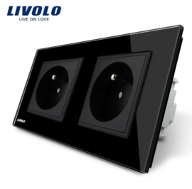 Livolo | Black | French | Wall Power Socket | Double