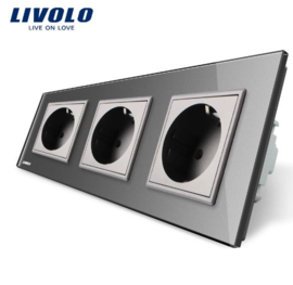 Livolo | Grey | Wall Power Socket | Triple