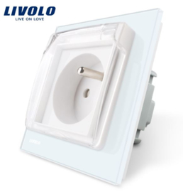 Livolo | White | French |  Wall Power Socket | Waterproof cover