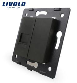 Livolo | Module | Frame | Telephone RJ11 & Cover | Black