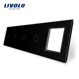 Livolo | Noir | Panneau De Verre | Quintuple | 4 Boutons + Cadre