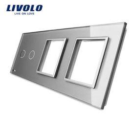 Livolo | Grey | Glass Panel  | Triple | 2 Gang + Frame + Frame
