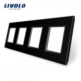 Livolo | Black | Glass Panel  | Quadruple | Frame