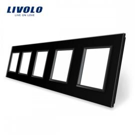 Livolo | Black | Glass Panel  | Quintuple | Frame