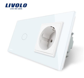 Livolo | White | 1Gang 1Way | Wall Touch Switch and EU socket