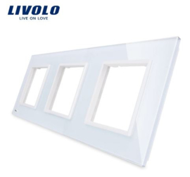 Livolo | White | Glass Panel  | Triple | Frame