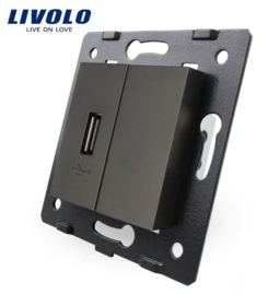 Livolo | Module | Frame | USB 2.1A & Cover  | Black