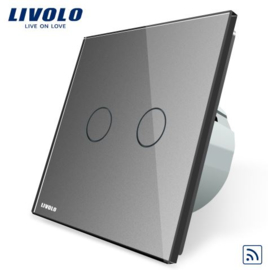 Livolo | Grey | 2Gang 1Way | Wall Touch Switch | Remote