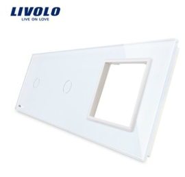 Livolo | White | Glass Panel  | Triple | 1 Gang + 1 Gang + Frame