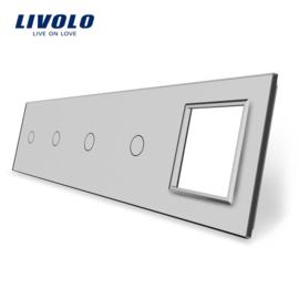 Livolo | Gris | Panneau De Verre | Quintuple | 4 Boutons + Cadre
