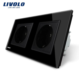 Livolo | Black | Wall Power Socket | Double